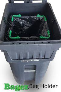 BagEZ in 96 gallon garbage can securing bag