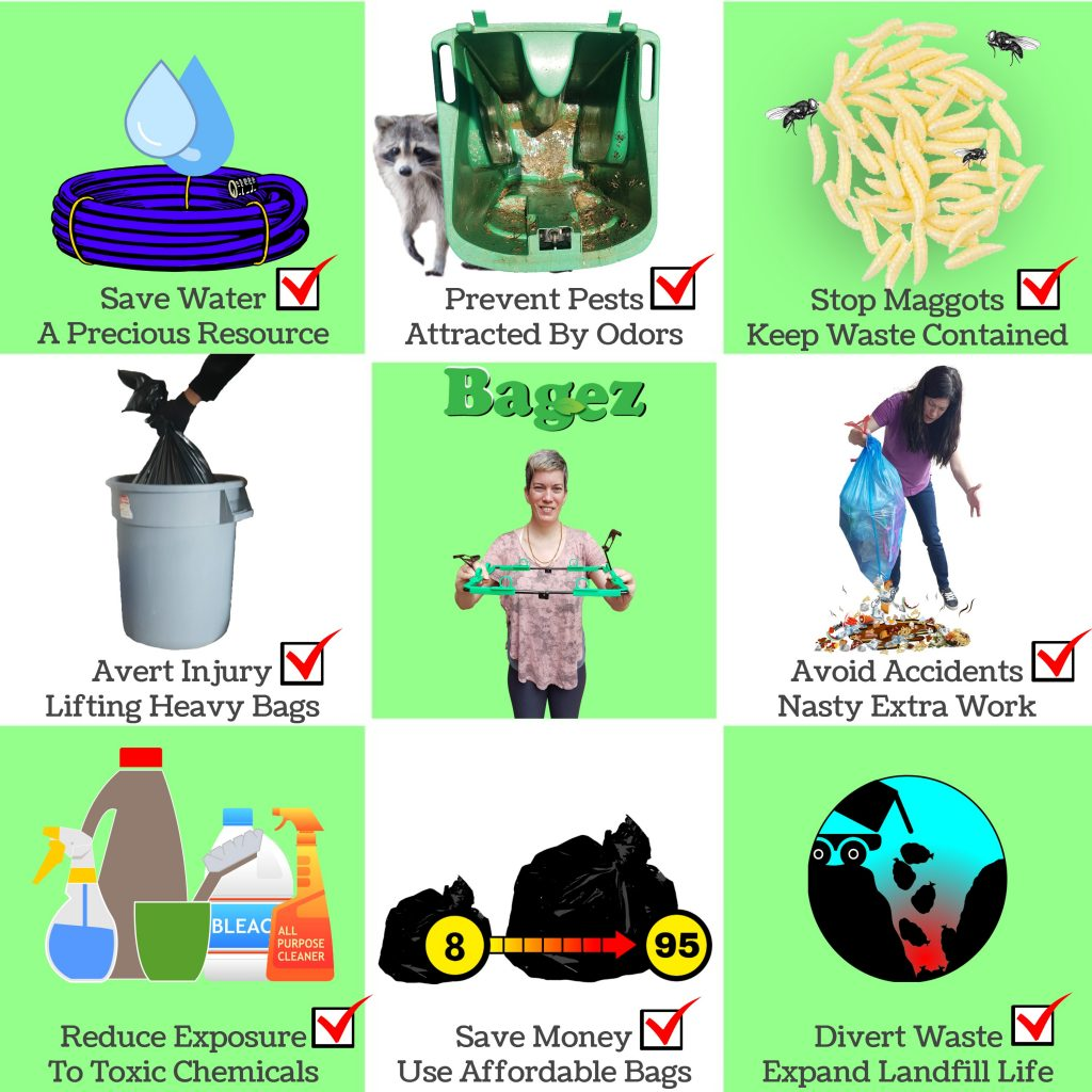 benefits advantages using BagEZ To Keep clean garbage bins