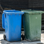 garbage can outdoor recycling and green bin for food waste
