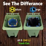 see the difference medium vs large trash bag holder