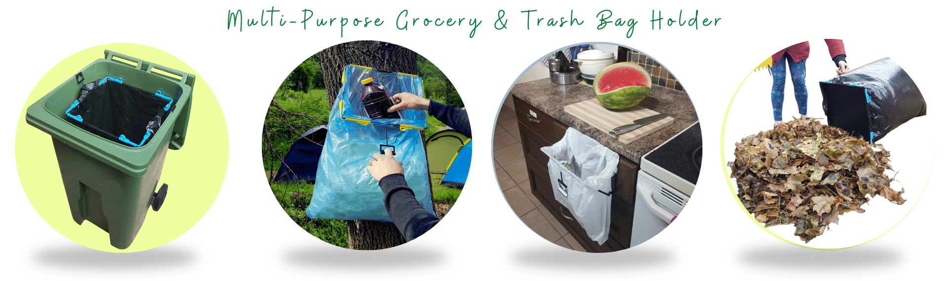 BagEZ grocery trash bag holder circle banner website