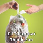taking food waste compostable bag hands