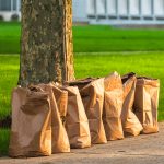 paper lawn bags curbside pile